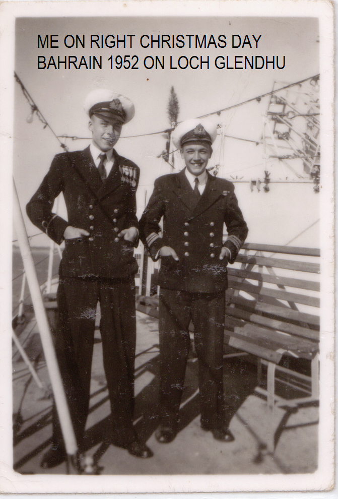 Trevor on HMS LOCH GLENDHU on Christmas day 1951 in the Gulf, wearing the Captains uniform because he just happened to be the youngest boy on board