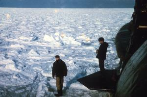 From Rob Forsyth: Nigel Franklin 1st Lt watches as CO Ken Bromback tests the ice!