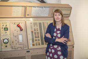 Silent and Secret curator Alexandra Geary with a firing panel from the Polaris-era featuring in new exhibition marking 50 years of the at-sea deterrent
